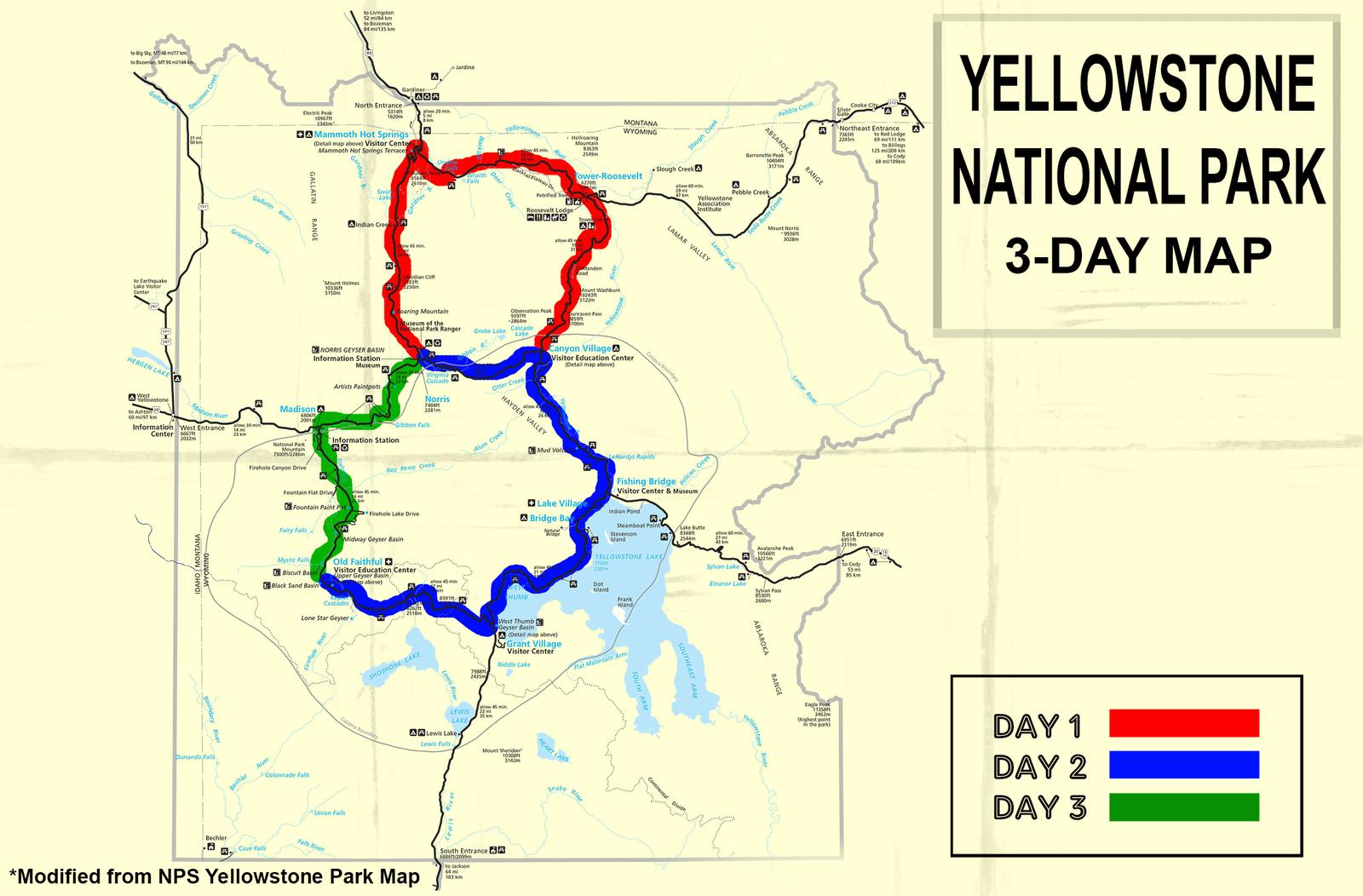 How to Tackle Yellowstone in Just 3 Days Yellowstone Traffic Direction Map on new york traffic, public-domain traffic, las vegas traffic, san diego traffic, denver traffic,